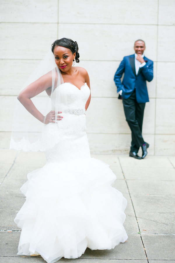 Downtown Dallas Glitzy Wedding Couple