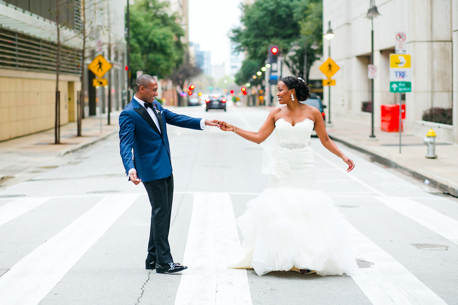 Bride & Groom Dancing in Downtown Dallas