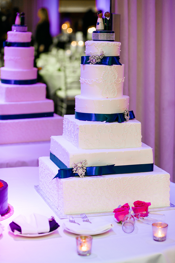 Classic 4-tier Cake Black Ribbon and Rhinestones