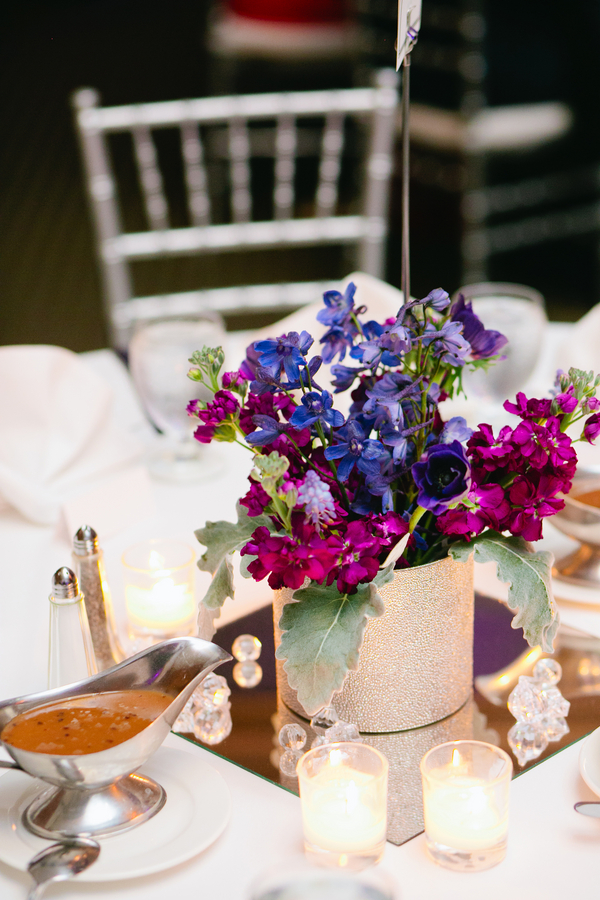 Silver Purple Wedding Centerpiece