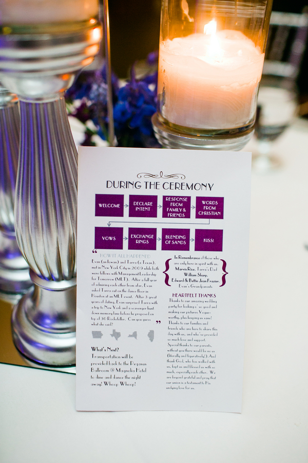 Harlem Renaissance Gatsby Purple Wedding Program