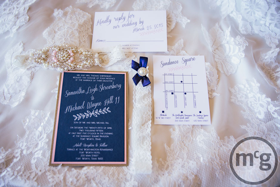 Navy Blush Pink Wedding Invitation Suite from Altar Ego Weddings