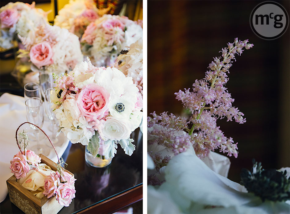 Pink White Anenome wedding bouquets