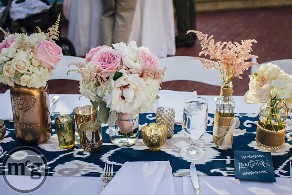 Navy Ikat Table Runner; Wedding Tablescape