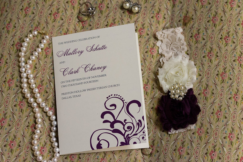 Altar Ego Paperie Purple Flourish Wedding Program