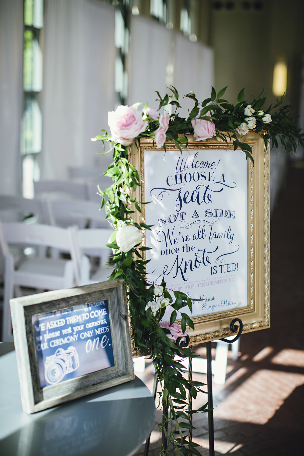 Altar Ego Paperie Ceremony Seating and Unplugged Wedding Signs