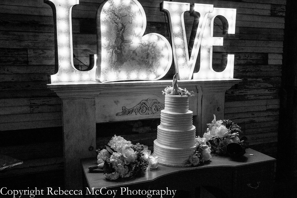 Bee Lavish Lit Love Sign Wedding Cake