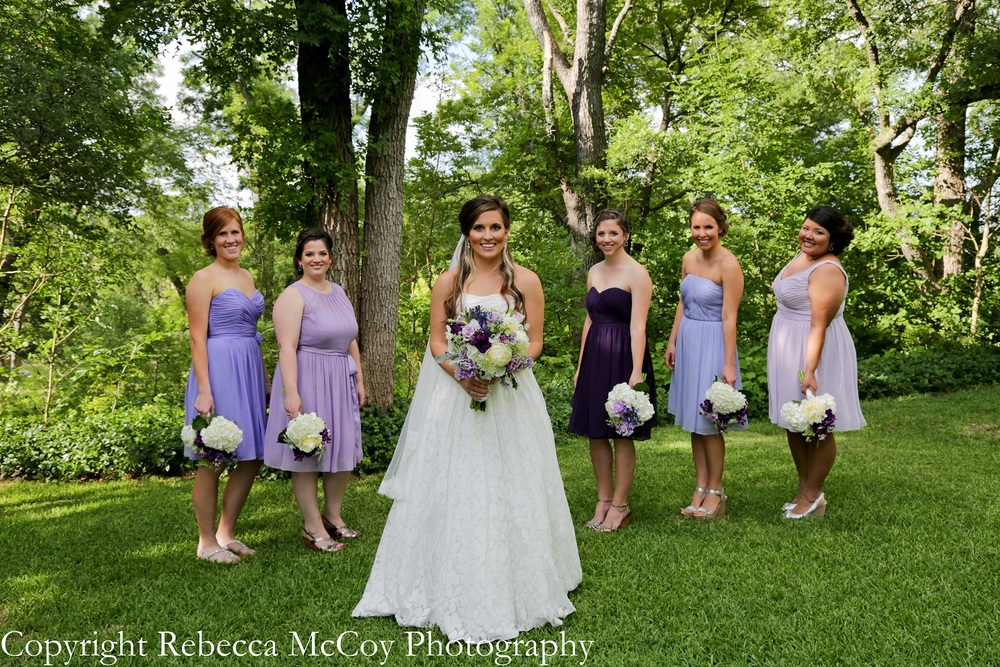 Multiple Shades of Purple Bridesmaids Dresses