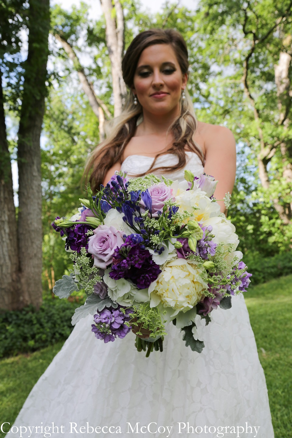 Purple Green Ivory Bridal Bouquet