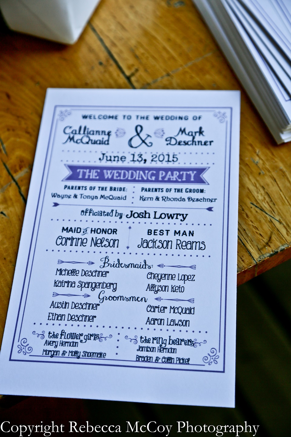 Rustic Purple Wedding Program