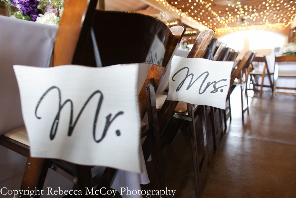 Mr. and Mrs. Signs on Chairs