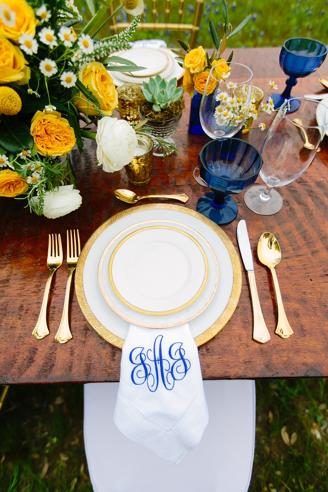 Brides of Austin Blue Yellow Place Setting