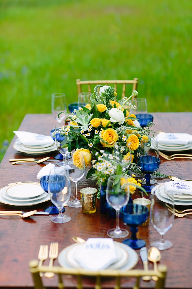 Ma Maison wedding photoshoot blue yellow tablescape