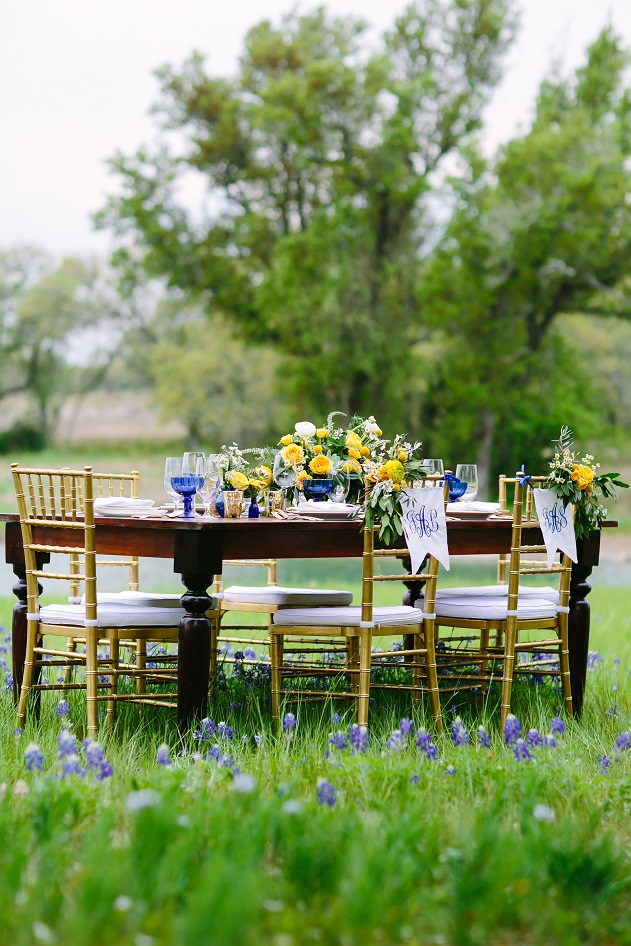 Brides of Austin Farm Table Yellow Blue