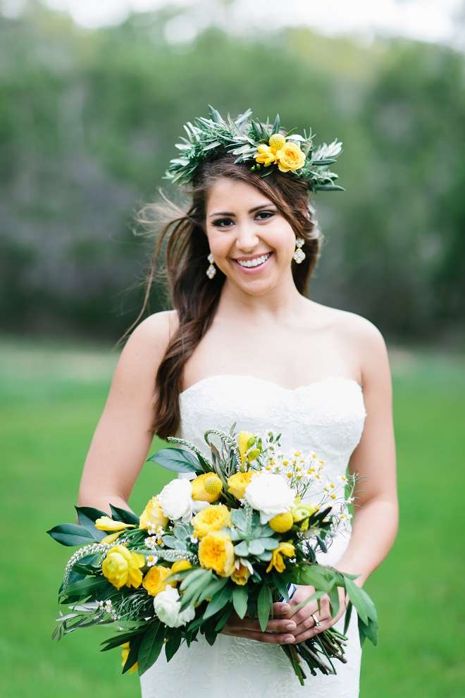 Brides of Austin Natural Flower Halo Yellow Flowers