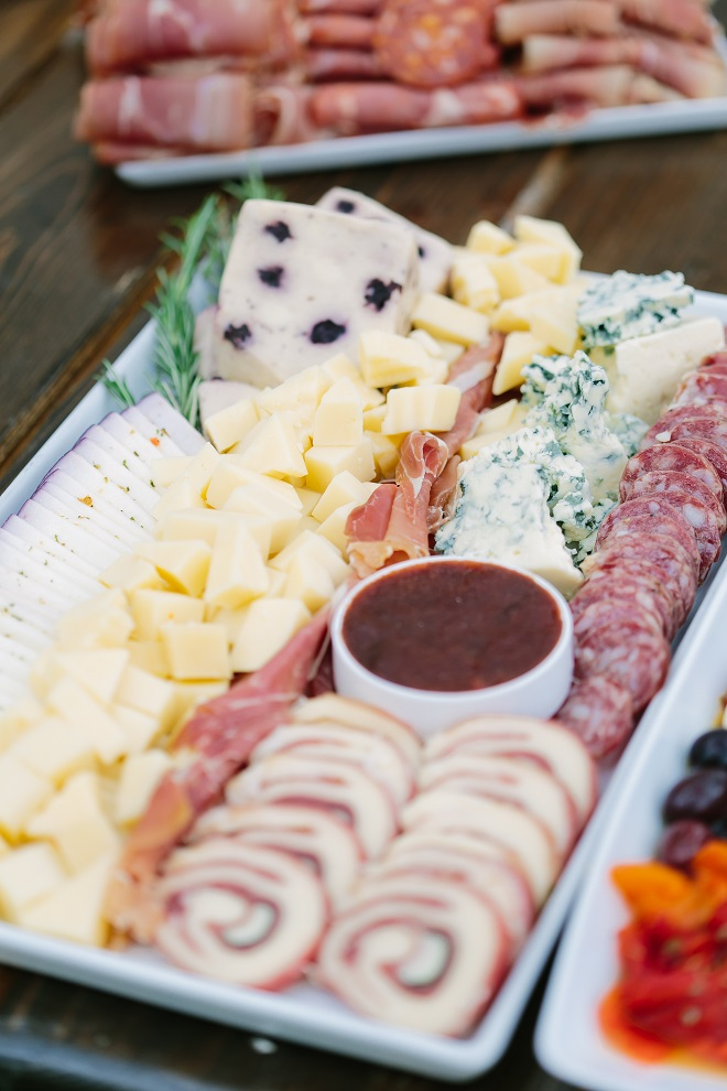 Cheese and meat charcuterie wedding display