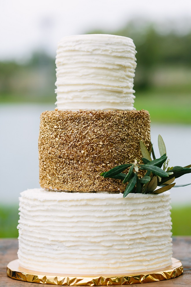 Gold Textured Wedding Cake Messy Buttercream