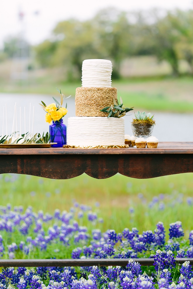 Gold Textured Cake Table Cobalt Blue Vase