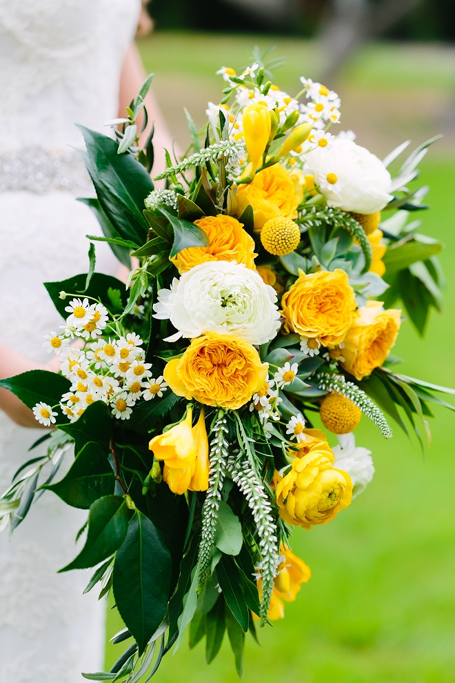 Yellow White Greenery Bridal Bouquet Sweet Magnolia Floral