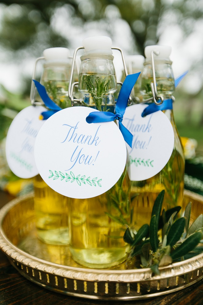 Olive Oil Wedding Favors Stationery from Altar Ego Paperie