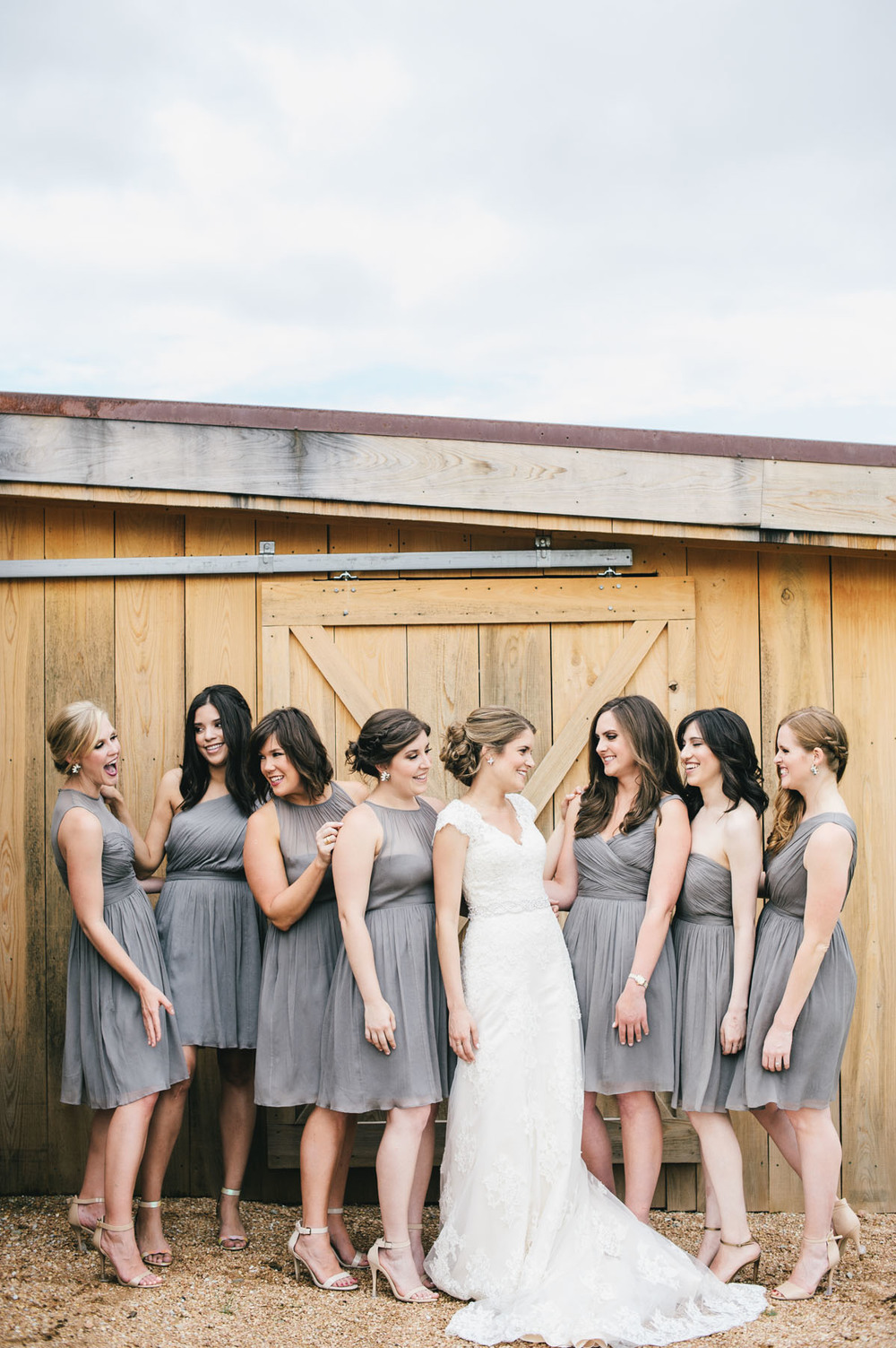 Gray bridesmaids knee-length dress