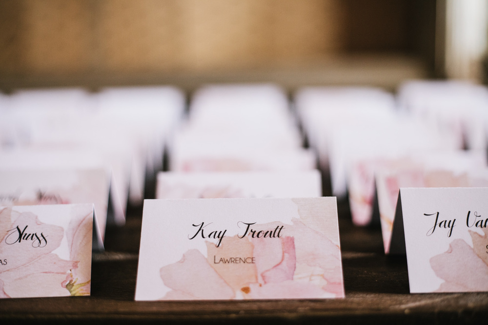 Pink Petal Wedding Escort Cards