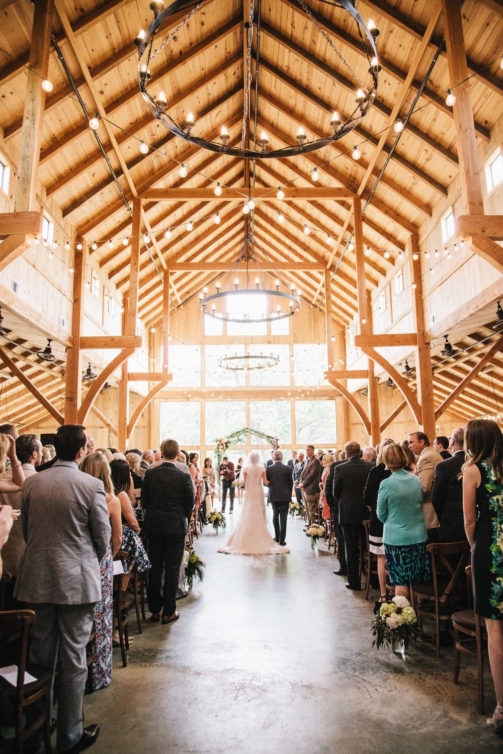 Barn wedding ceremony processional