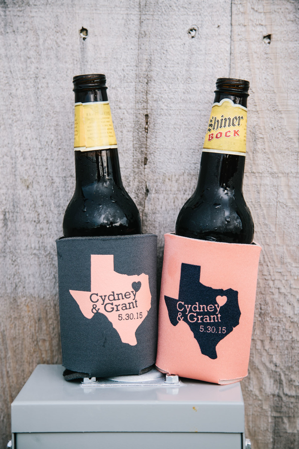 Wedding Koozies Peach Gray Beer
