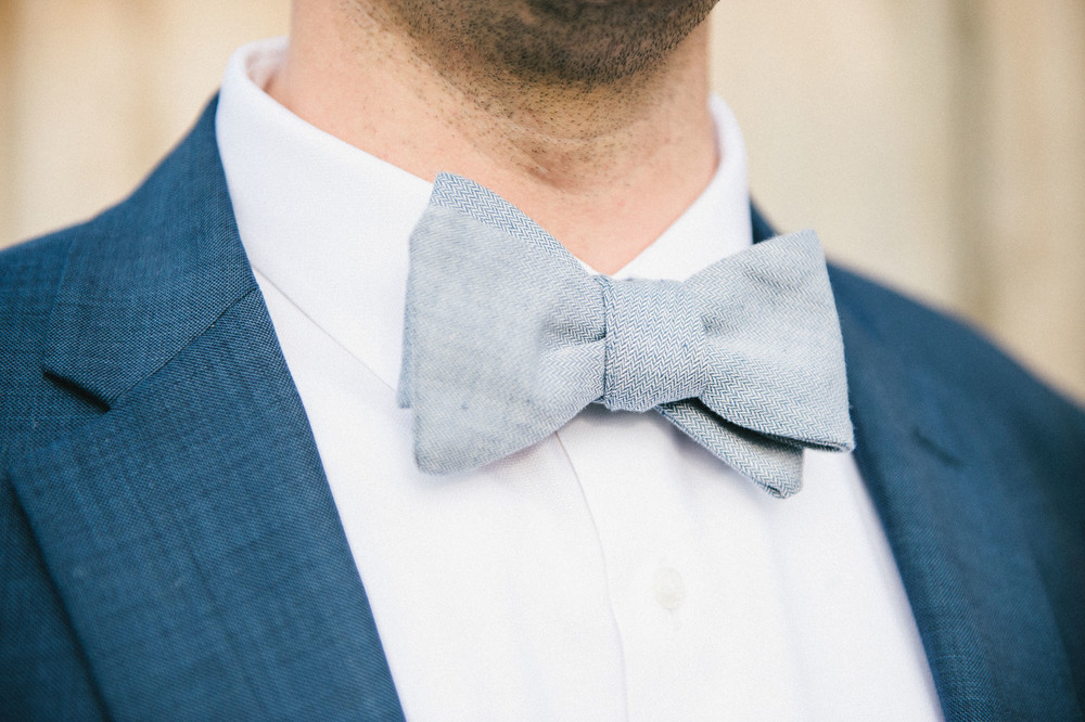 Groom's blue bowtie