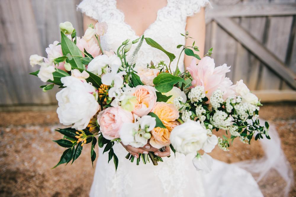 Bridal Bouquet peach white orange greenery organic