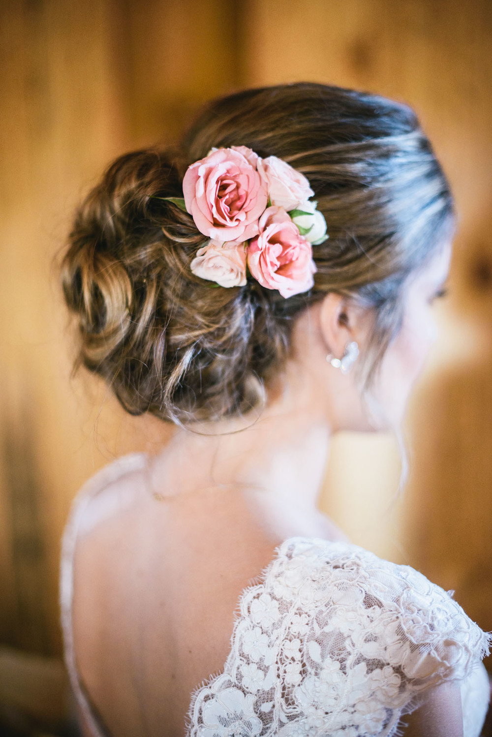Bride's hair updo roses