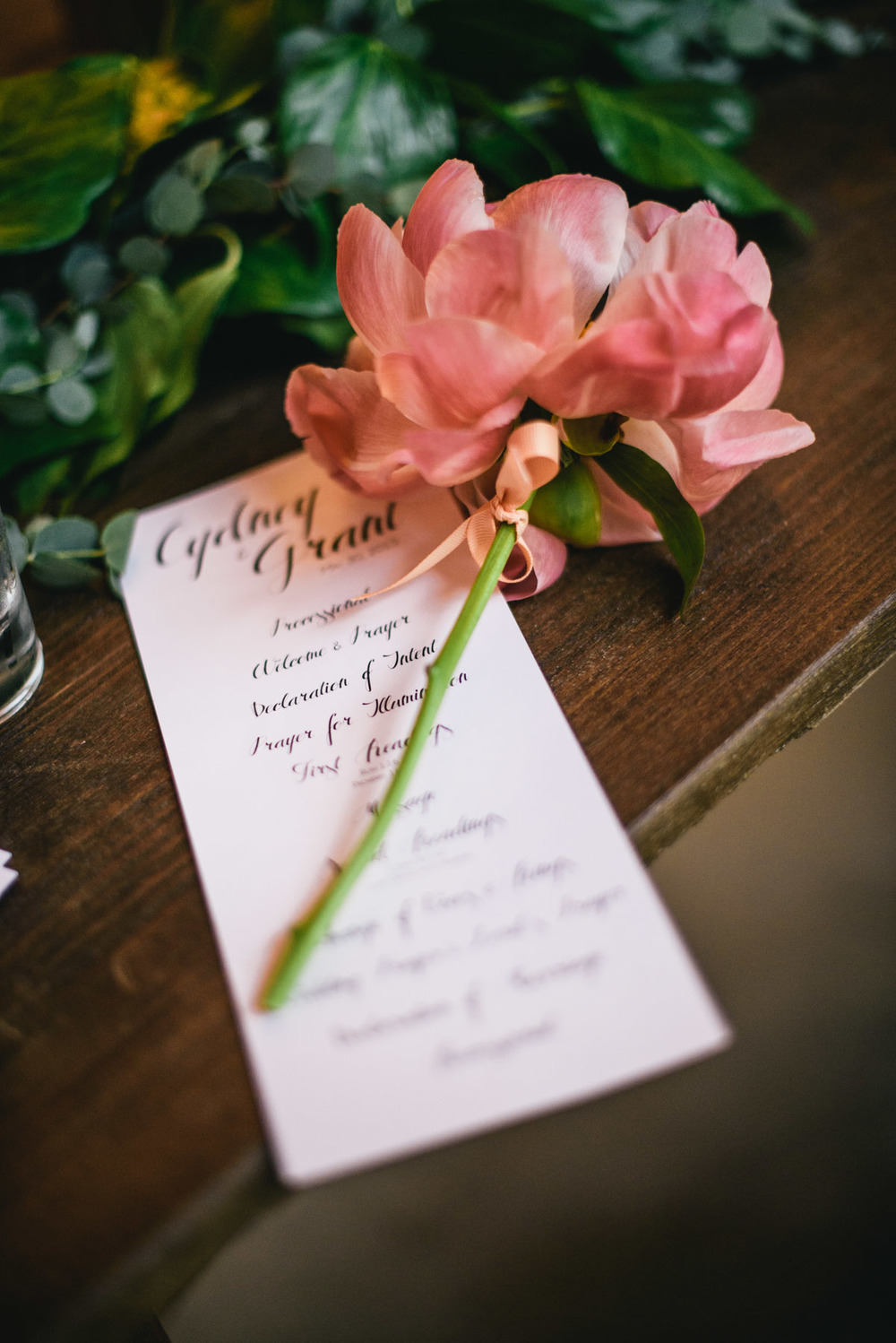 Wedding Program Coral Peony