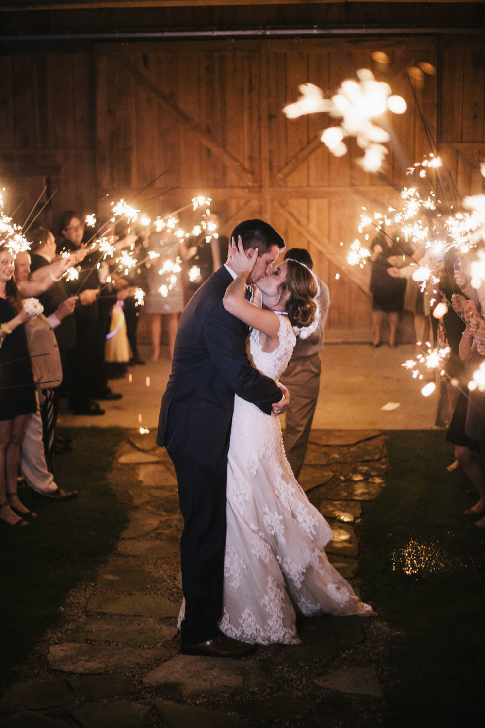 Wedding Sparkler Exit Kiss