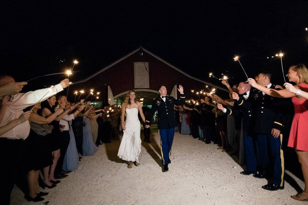 Military Wedding Sparkler Exit