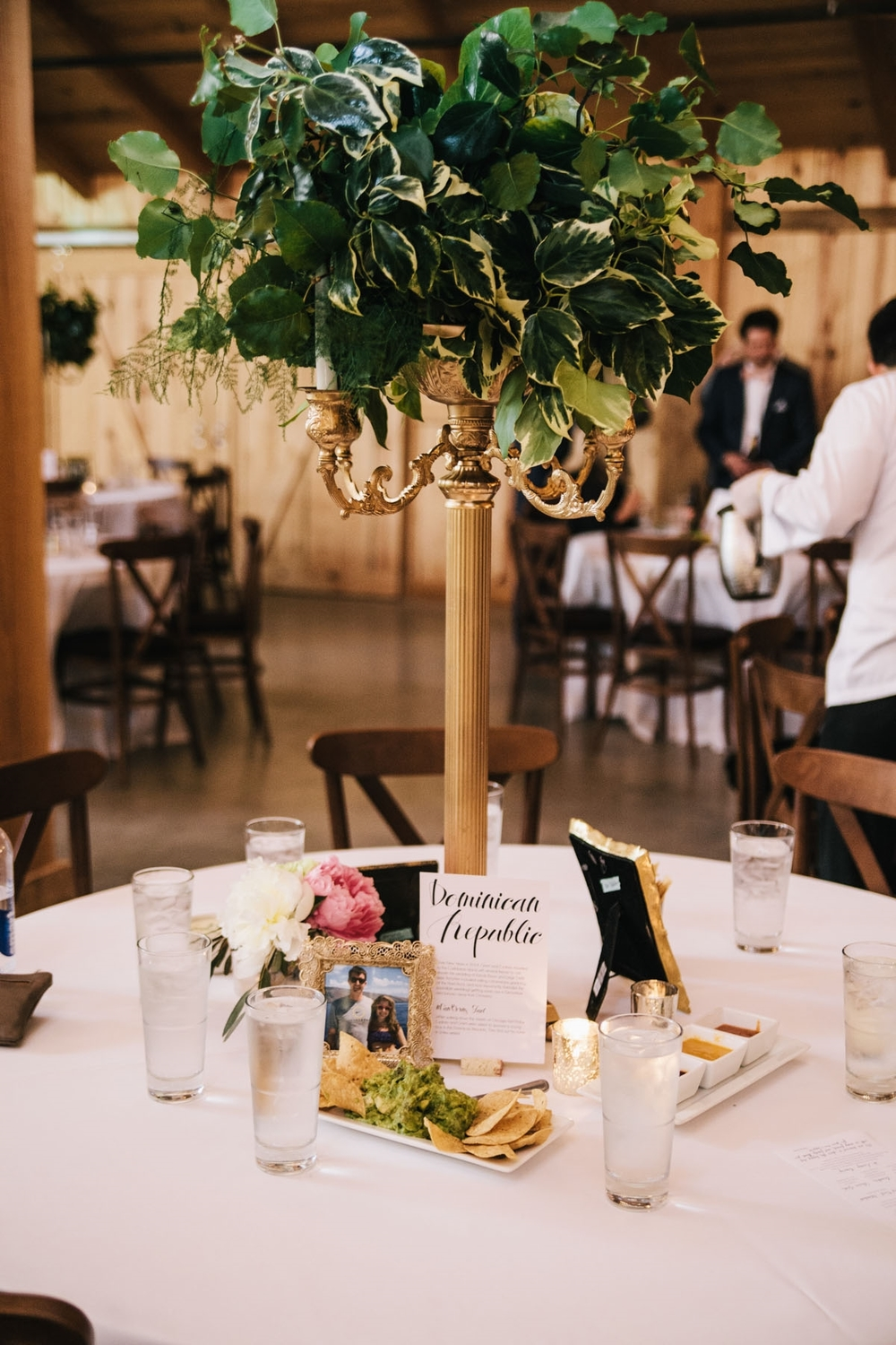 Tall Greenery Wedding Centerpiece Travel Theme