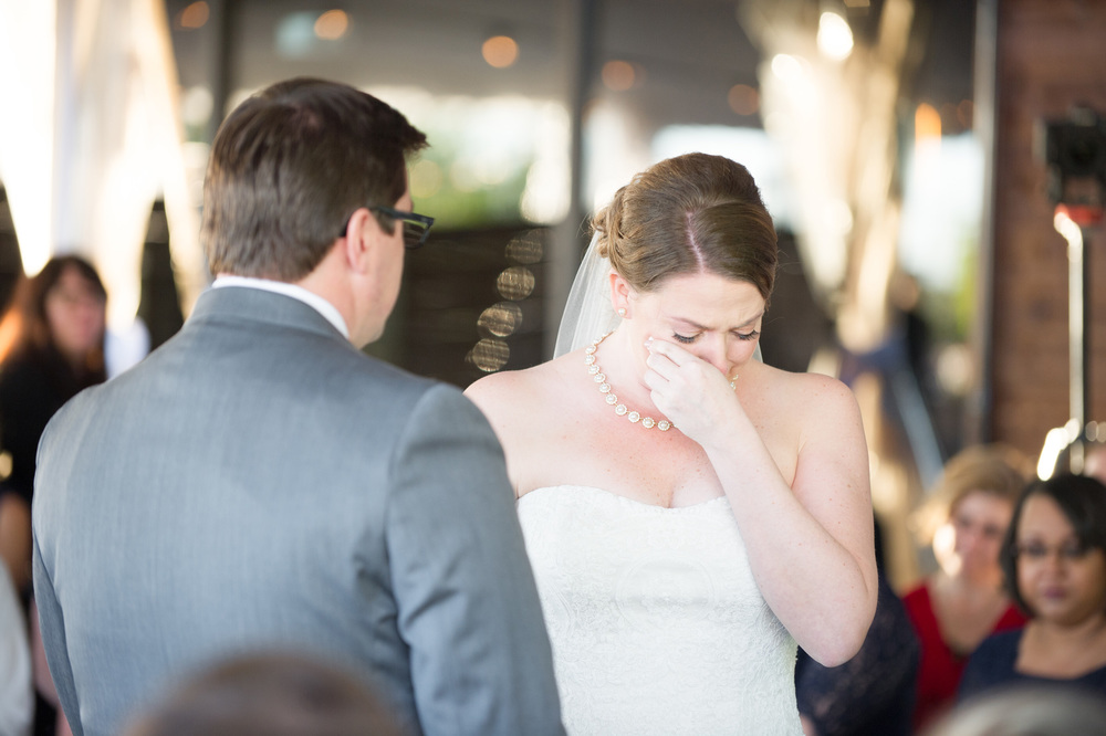 Wedding ceremony bride crying