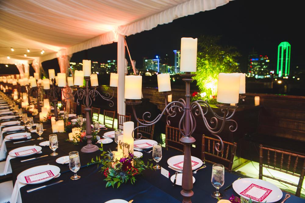 Wedding Head Table Navy linen candelabra family style