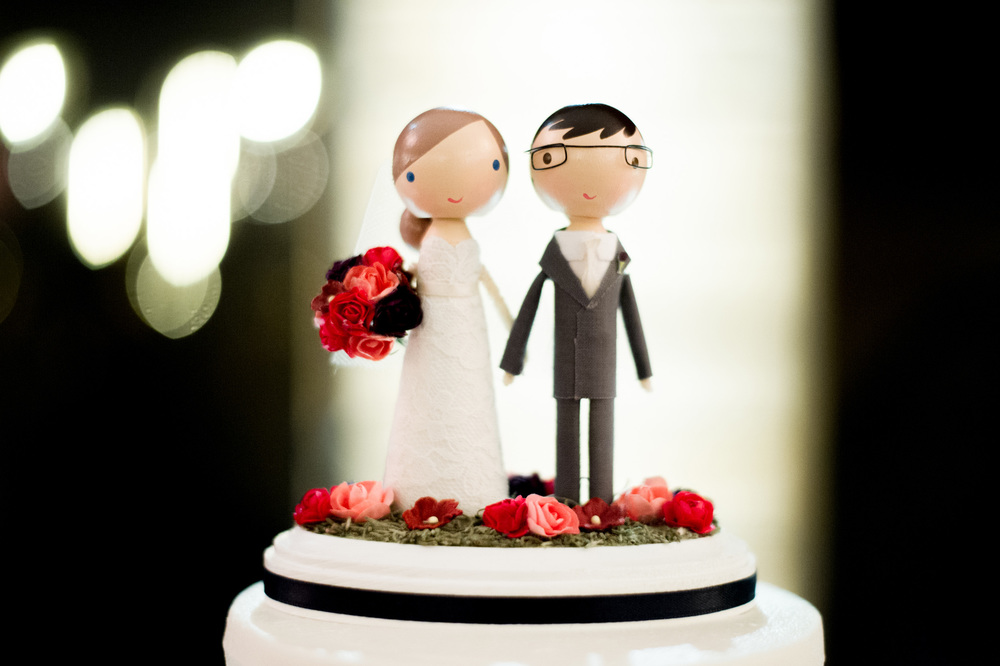 Custom wooden wedding cake topper