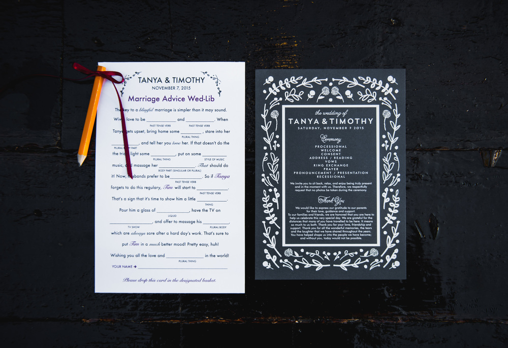 Navy Wedding Program and Mad Lib
