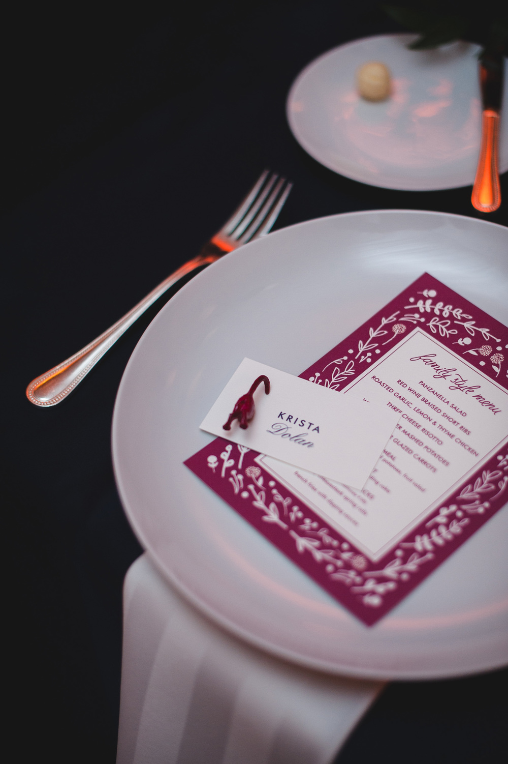 Magenta Family Style Wedding Menu