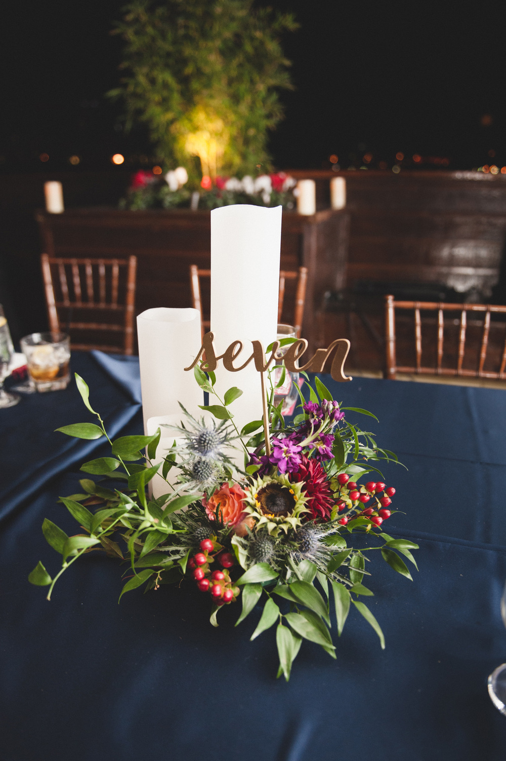 Fall family style wedding centerpiece
