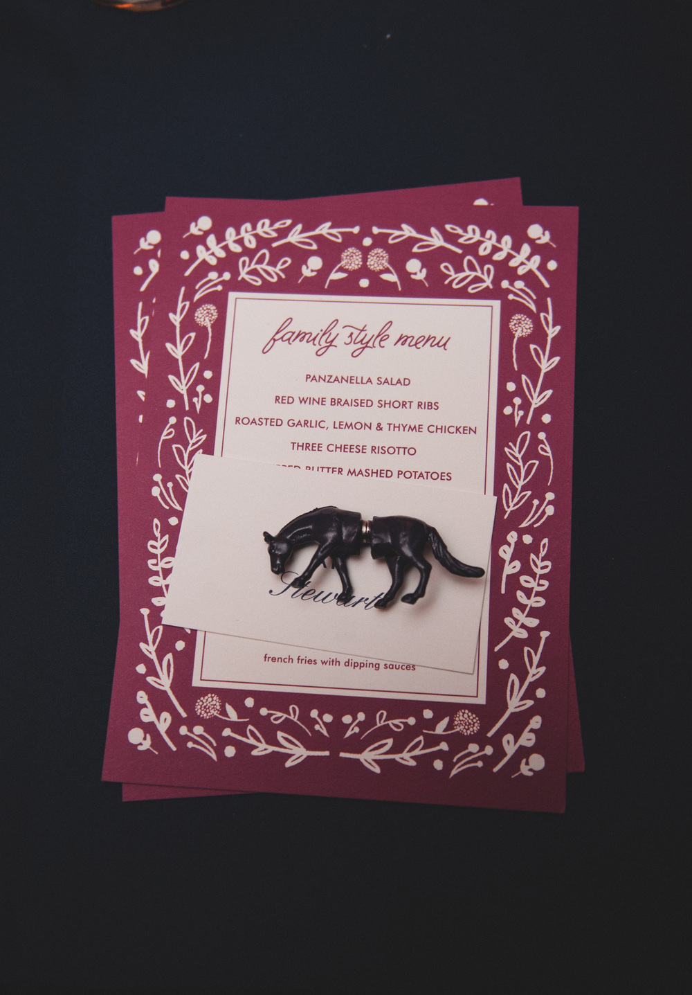 Magenta Family Style Wedding Menu with animal magnet wedding favor