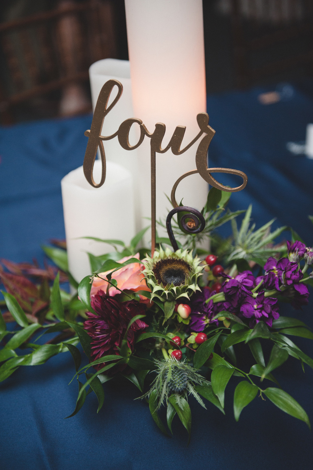 Fall wedding centerpiece family style
