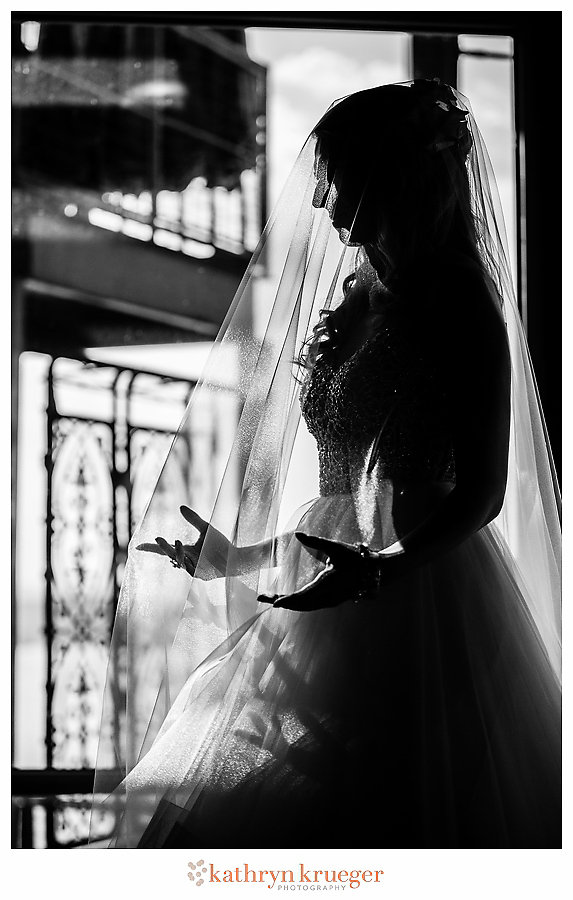 Black and white bride silhouette