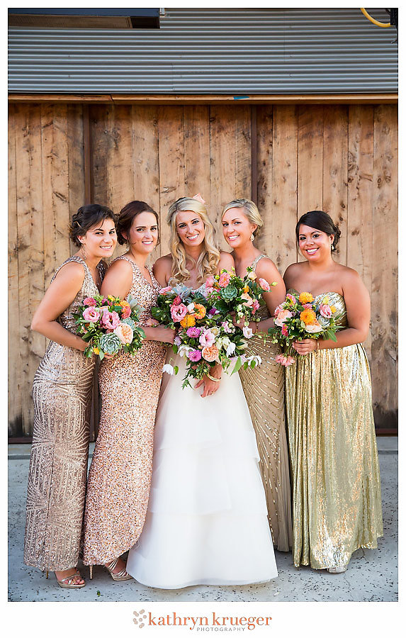Gold sparkly bridesmaid dresses