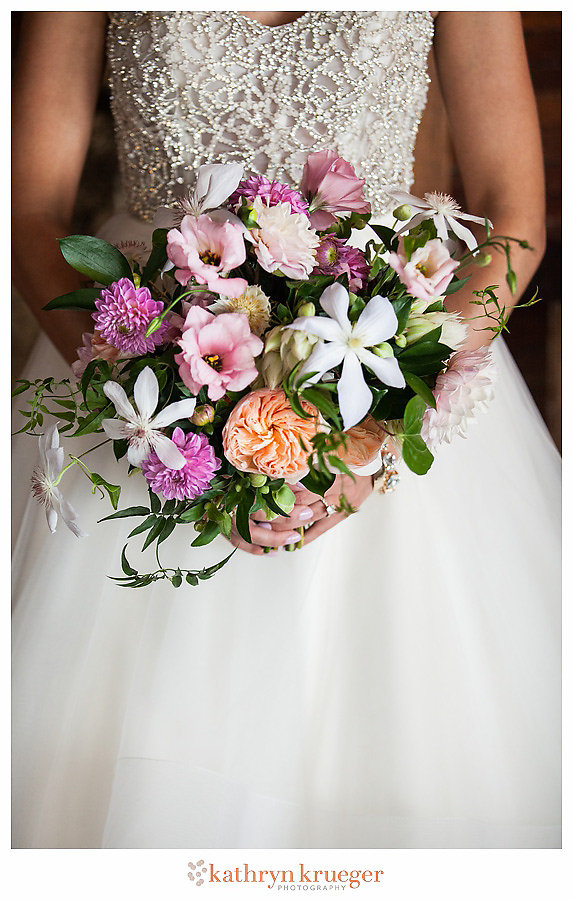 Pink orange white bridal bouquet