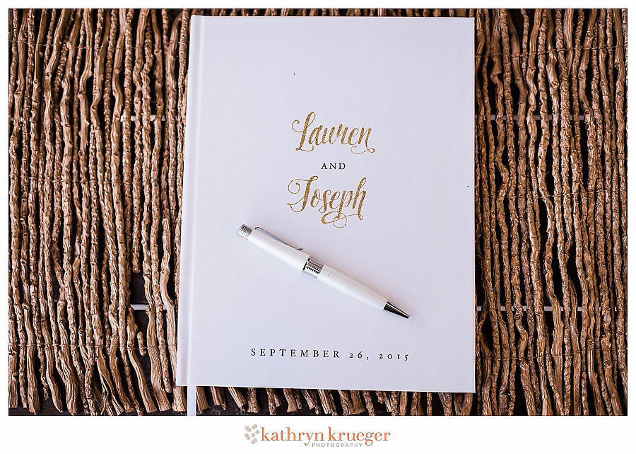 White wedding guestbook gold lettering