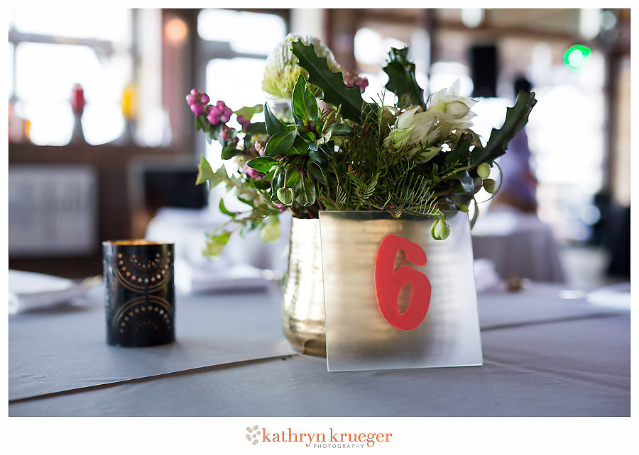 Punchy color wedding centerpiece frosted glass table number