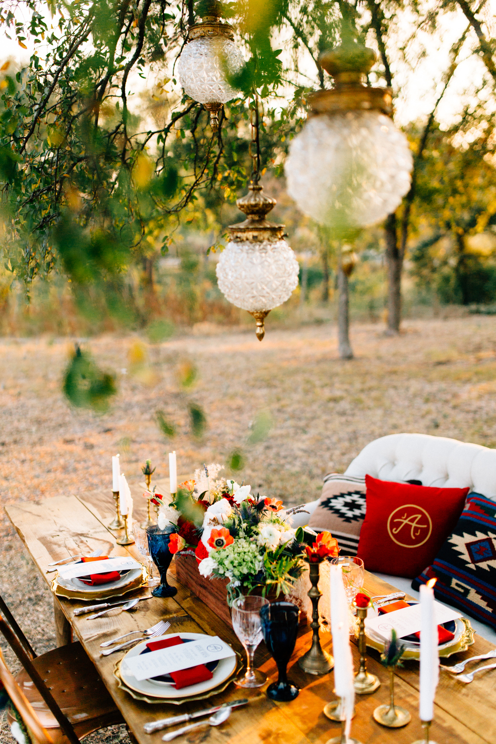 Lone Star Statement Wedding Tablescape vintage pendants