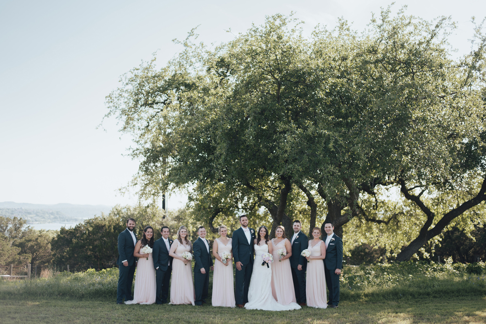 Navy pink bridal party Vintage Villas